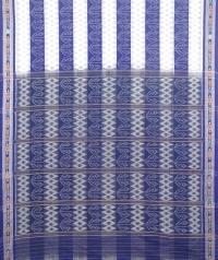 Blue and white sambalpuri handloom cotton saree