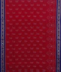 Red blue sambalpuri handwoven cotton saree
