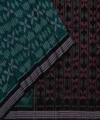 Green black sambalpuri handwoven cotton saree
