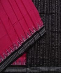 Pink black sambalpuri handwoven cotton saree