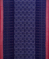 Violet red sambalpuri handwoven cotton saree