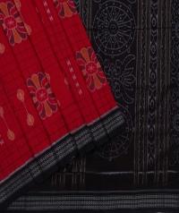 Red black sambalpuri handwoven cotton saree