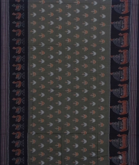 Sage green black sambalpuri handwoven cotton saree