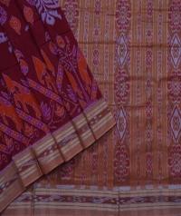 Maroon orange sambalpuri handwoven cotton saree