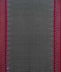 Sage green maroon sambalpuri handwoven cotton saree