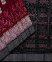 Maroon black sambalpuri handwoven cotton saree