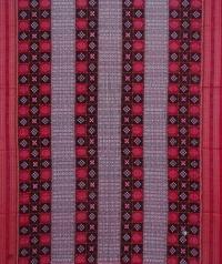 Black red sambalpuri handwoven cotton saree