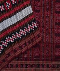 Black maroon sambalpuri handwoven cotton saree