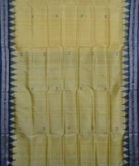 Dandelion yellow black handwoven khandua silk saree