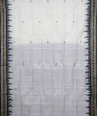 Off white black handwoven khandua silk saree