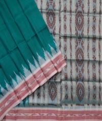 Green off white handwoven khandua silk saree