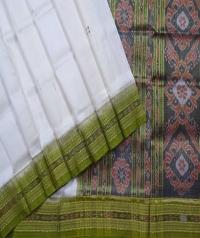 Off white olive green handwoven khandua silk saree