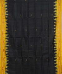 Black yellow handwoven khandua silk saree