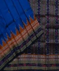 Navy blue black handwoven khandua silk saree