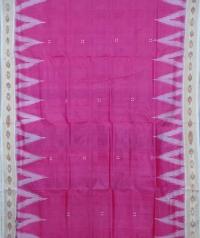 Pink off white handwoven khandua silk saree