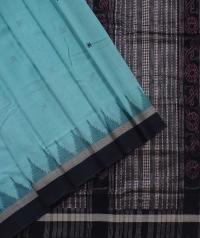 Sky blue black handwoven kotpad saree