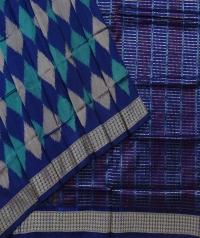 Blue jungle green handwoven sambalpuri silk saree