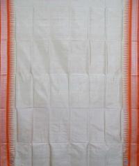 Cream orange handwoven bomkai silk saree