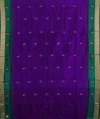 Violet green handwoven bomkai silk saree