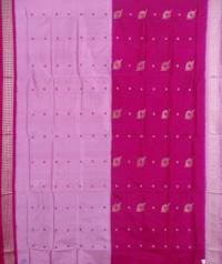 Deep and light pink handwoven bomkai silk saree