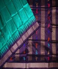 Green blue handwoven bomkai silk saree