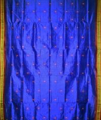 Blue maroon handwoven silk saree
