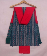 Teal green and red sambalpuri cotton suit piece