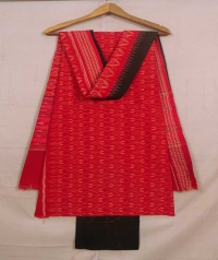 Red and black sambalpuri cotton suit piece