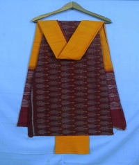 Maroon and yellow sambalpuri cotton suit piece