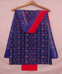 Blue and red sambalpuri cotton suit piece