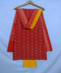 Red and yellow sambalpuri cotton suit piece