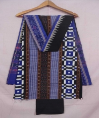 Blue and black sambalpuri cotton suit piece