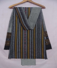 Black and gray sambalpuri cotton suit piece