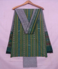 Green and gray sambalpuri cotton suit piece