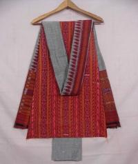 Maroon and gray sambalpuri cotton suit piece