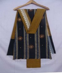 Black and mustard sambalpuri cotton suit piece