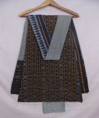 Black and gray sambalpuri cotton suit piece