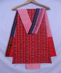 Red and salmon sambalpuri cotton suit piece