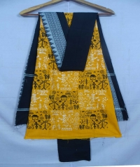 Yellow and black sambalpuri cotton suit piece