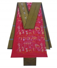 Red and mustard sambalpuri cotton suit piece