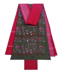 Green and red sambalpuri cotton suit piece