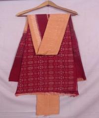 Maroon and dark beach  sambalpuri cotton suit piece