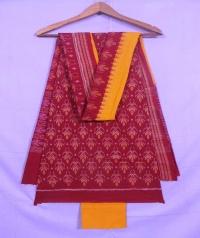 Maroon and yellow sambalpuri cotton suit piece
