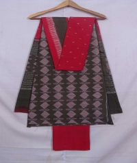 Brown and red sambalpuri handloom cotton suit piece