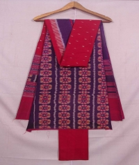 Violet and red sambalpuri cotton suit piece