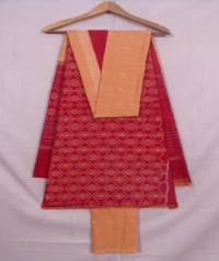 Red and dark beach sambalpuri cotton suit piece