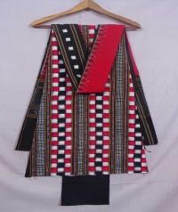 Black and red sambalpuri  cotton suit piece
