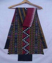 Black and purple sambalpuri cotton suit piece