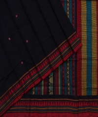 Black red handwoven dongria cotton saree