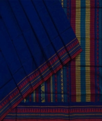 Blue red handwoven dongria cotton saree